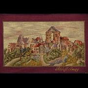 Framed Needlepoint & Petite Point Solingen Castle German Tapestry