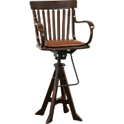 Oak Swivel 1900 Antique Architect or Drafting Stool, Leather Seat, Signed