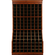 Industrial Hardware Store Cherry & Tin Wine Cabinet, 1930's Vintage, 120 Slots