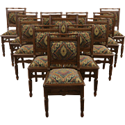 Set of 12 Victorian Eastlake Oak 1880 Antique Dining Chairs, New Upholstery