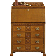 Oak 1890's Antique Carved Oak Secretary Desk, Original Brasses