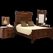 Victorian Eastlake 1880's Queen Size 3 Pc. Walnut Burl Bedroom Set, Marble Tops