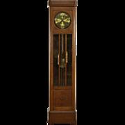 Oak 1900 Antique German Grandfather Tall Case Clock, Beveled Glass