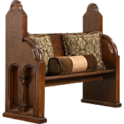 Oak Pew or Hall Bench, 1875 Antique with Columns & Arches