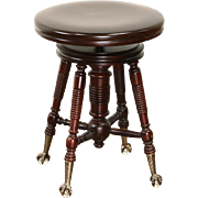 Victorian 1900 Antique Swivel Piano or Organ Stool, Brass Claw & Glass Ball Feet