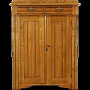 Victorian Eastlake 1890's Antique Oak Pantry Jelly Cupboard