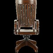 Oak Antique 1900 High Back Swivel Adjustable Library or Office Desk Chair
