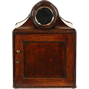 English 1890's Antique Mahogany Jewelry Chest or Collector Cabinet & Mirror