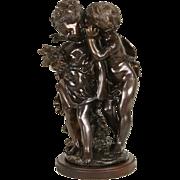 A Confidence Bronze Sculpture, Signed August Moreau Statue