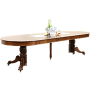 """Round 1900 Antique 45"""" Oak Pedestal Dining Table, 6 Leaves, Lion Paw Feet"""