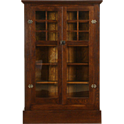 Arts & Crafts Mission Oak 1905 Antique Library Bookcase, Glass Doors