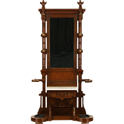 Victorian Walnut 1875 Antique Hall Stand, Mirror, Marble Shelf & Umbrella Holder