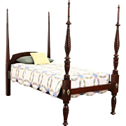 Poster Twin or Single Bed, 1830's Antique Mahogany, Spiral Columns