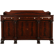 Empire Carved Mahogany 1900 Antique Sideboard, Server or Buffet, Lion Paw Feet