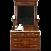 Victorian Eastlake 1880's Antique Walnut Chest or Dresser, Marble & Mirror