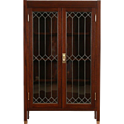 Craftsman Mahogany 1910 Antique Bookcase, Leaded Glass, Bronze Hardware