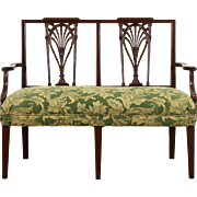 Hepplewhite Carved Mahogany 1930's Vintage Loveseat Hall Bench, New Upholstery