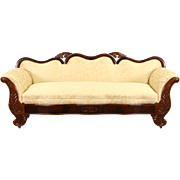 Empire 1840 Antique Carved Mahogany Sofa, New Upholstery