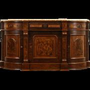 Victorian Renaissance 1870's Walnut Sideboard, Server or Buffet, Marble Top