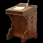 Victorian 1870's Antique Carved Walnut Davenport or Ship Desk