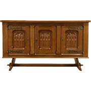 Dutch Carved Oak 1930 Vintage Sideboard, Server Cabinet or TV Console