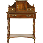 Spanish Walnut Vintage Secretary Desk, Leather Top, Brass Mounts & Galleries