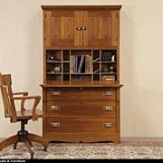 Oak 1895 Antique Dropfront Secretary Desk, 3 Drawers