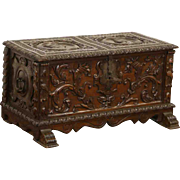 Italian Renaissance Carved 1890's Oak Dowry Chest or Trunk