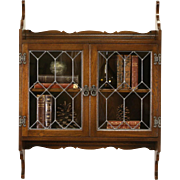 English Vintage Oak Hanging Wall Cabinet, Leaded Glass Doors, Nice for Bath