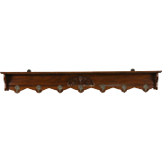 Dutch Oak Antique 1900 Wall Shelf Coat & Hat Rack