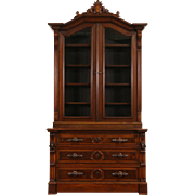 Victorian 1870 Antique Carved Walnut Library Bookcase, Secret Drawer