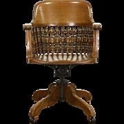Oak Swivel Adjustable 1900 Antique Desk Chair, Signed Johnson Chicago
