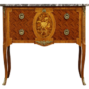 Scandinavian Marble Top Vintage Silver, Jewelry or Collector Chest, Marquetry