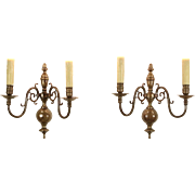 Pair 1910 Antique Brass Double Wall Sconces, Beeswax Candles