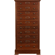 Redwood 1890 Antique 10 Drawer Collector or File Cabinet, Jewelry Chest