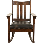 Arts & Crafts Mission Oak Rocking Chair 1905 Antique Rocker, Leather