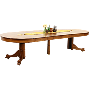 Oak 4' Round 1910 Antique Carved Pedestal Dining Table, 6 Leaves, Extends 10'