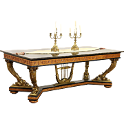 Italian 1930's Vintage Hand Carved Dining or Library Table, Granite Top