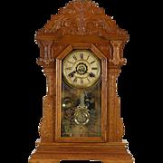 Waterbury Signed Victorian Antique 1890's Carved Oak Shelf Clock, Alarm