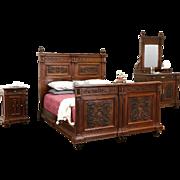 Italian 1900 Antique Renaissance Carved Walnut 4 Pc. Queen Size Bedroom Set