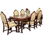Renaissance Carved 1920 Dining Set, Banded Table 6 Chairs New Upholstery, Signed