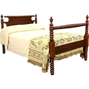 Country Cherry & Walnut 1860 Antique Full Size Bed, Spool Turned Posts
