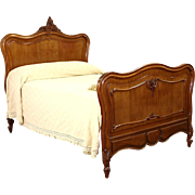 French 1915 Antique Hand Carved Walnut Full or Double Size Bed