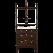 Oak Bookbinder 1800 Antique English Press & Cabinet