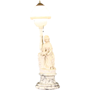 Marble & Alabaster 1920 Antique Art Deco Lamp, Carved Sculpture of a Young Woman