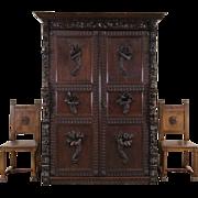 Renaissance Oak Antique 1870 French Armoire Cabinet, Carved Angels, Lions & Frui