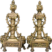 Pair of French Bronze 1850 Antique Fireplace Chenets or Fire Dogs