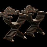 Pair of Italian 1900 Antique Savonarola Folding Chairs, Hand Carved Fruitwood