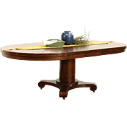 "Round 48"" Quarter Sawn Oak 1900 Antique Dining Table, 3 Leaves"