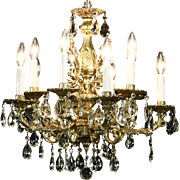 Chandelier, Molded Gold Acrylic, 10 Candles & Cut Crystal Prisms